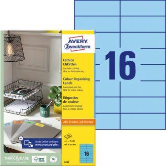 Avery Zweckform No. 3453 univerzális 105 x 37 mm méretű, kék színű öntapadó etikett címke A4-es íven - 1600 címke / doboz - 100 ív / doboz (Avery 3453)