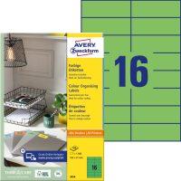 Avery Zweckform No. 3454 univerzális 105 x 37 mm méretű, zöld színű öntapadó etikett címke A4-es íven - 1600 címke / doboz - 100 ív / doboz (Avery 3454)