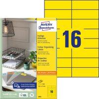 Avery Zweckform No. 3455 univerzális 105 x 37 mm méretű, sárga színű öntapadó etikett címke A4-es íven - 1600 címke / doboz - 100 ív / doboz (Avery 3455)