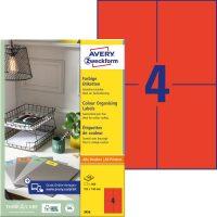 Avery Zweckform No. 3456 univerzális 105 x 148 mm méretű, piros színű öntapadó etikett címke A4-es íven - 400 címke / doboz - 100 ív / doboz (Avery 3456)