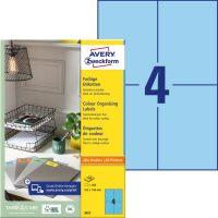 Avery Zweckform No. 3457 univerzális 105 x 148 mm méretű, kék színű öntapadó etikett címke A4-es íven - 400 címke / doboz - 100 ív / doboz (Avery 3457)