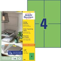 Avery Zweckform No. 3458 univerzális 105 x 148 mm méretű, zöld színű öntapadó etikett címke A4-es íven - 400 címke / doboz - 100 ív / doboz (Avery 3458)