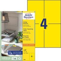 Avery Zweckform No. 3459 univerzális 105 x 148 mm méretű, sárga színű öntapadó etikett címke A4-es íven - 400 címke / doboz - 100 ív / doboz (Avery 3459)
