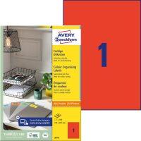 Avery Zweckform No. 3470 univerzális 210 x 297 mm méretű, piros színű öntapadó etikett címke A4-es íven - 100 címke / doboz - 100 ív / doboz (Avery 3470)