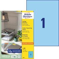 Avery Zweckform No. 3471 univerzális 210 x 297 mm méretű, kék színű öntapadó etikett címke A4-es íven - 100 címke / doboz - 100 ív / doboz (Avery 3471)