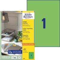 Avery Zweckform No. 3472 univerzális 210 x 297 mm méretű, zöld színű öntapadó etikett címke A4-es íven - 100 címke / doboz - 100 ív / doboz (Avery 3472)