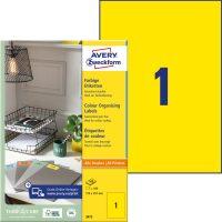 Avery Zweckform No. 3473 univerzális 210 x 297 mm méretű, sárga színű öntapadó etikett címke A4-es íven - 100 címke / doboz - 100 ív / doboz (Avery 3473)