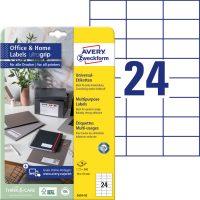 Avery Zweckform No. 3474-10 univerzális 70 x 37 mm méretű, fehér öntapadó etikett címke A4-es íven - 240 címke / csomag - 10 ív / csomag (Avery 3474-10)