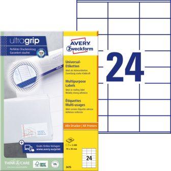 Avery Zweckform No. 3475 univerzális 70 x 36 mm méretű, fehér öntapadó etikett címke A4-es íven - 2400 címke / doboz - 100 ív / doboz (Avery 3475)