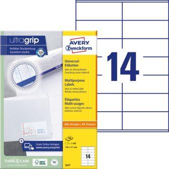 Avery Zweckform No. 3477 univerzális 105 x 41 mm méretű, fehér öntapadó etikett címke A4-es íven - 1400 címke / doboz - 100 ív / doboz (Avery 3477)