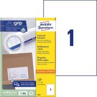 Avery Zweckform No. 3478 univerzális 210 x 297 mm méretű, fehér öntapadó etikett címke A4-es íven - 100 címke / doboz - 100 ív / doboz (Avery 3478)