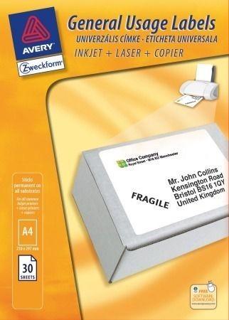 Avery Zweckform No. 3478HU univerzális 210 x 297 mm -es fehér etikett címke A4 -es íven - 30 címke / csomag - 30 ív / csomag (Avery 3478HU)
