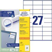 Avery Zweckform No. 3479 univerzális 70 x 32 mm méretű, fehér öntapadó etikett címke A4-es íven - 2700 címke / doboz - 100 ív / doboz (Avery 3479)
