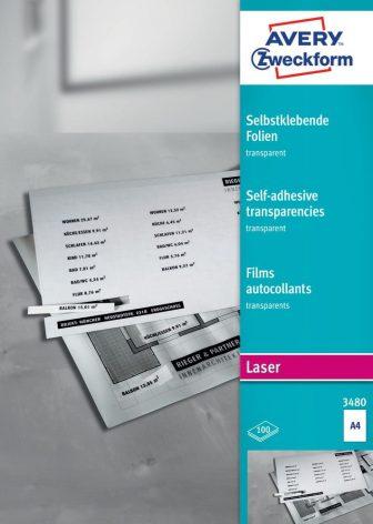 Avery Zweckform No. 3480 öntapadó fólia lézernyomtatóhoz (vastagság: 0,14 mm, méret: A4, 100 ív / csomag)(Avery 3480)