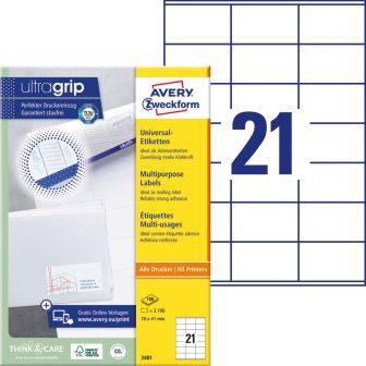 Avery Zweckform No. 3481 univerzális 70 x 41 mm méretű, fehér öntapadó etikett címke A4-es íven - 2100 címke / doboz - 100 ív / doboz (Avery 3481)