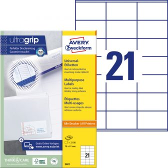 Avery Zweckform 3481 nyomtatható öntapadós etikett címke