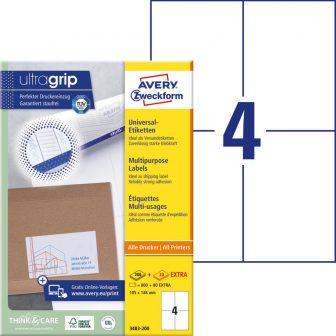 Avery Zweckform No. 3483-200 univerzális 105 x 148 mm méretű, fehér öntapadó etikett címke A4-es íven - 880 címke / doboz - 220 ív / doboz (Avery 3483-200)