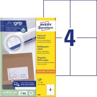 Avery Zweckform No. 3483 univerzális 105 x 148 mm méretű, fehér öntapadó etikett címke A4-es íven - 400 címke / doboz - 100 ív / doboz (Avery 3483)