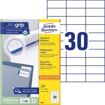 Avery Zweckform No. 3489 univerzális 70 x 29,7 mm méretű, fehér öntapadó etikett címke A4-es íven - 3000 címke / doboz - 100 ív / doboz (Avery 3489)