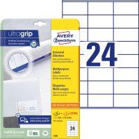 Avery Zweckform No. 3490 univerzális 70 x 36 mm méretű, fehér öntapadó etikett címke A4-es íven - 720 címke / csomag - 30 ív / csomag (Avery 3490)