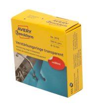 Avery Zweckform No. 3510 átlátszó, 13 mm átmérőjű öntapadó lyukerősítő gyűrű adagoló dobozban - 500 gyűrű / doboz (Avery 3510)