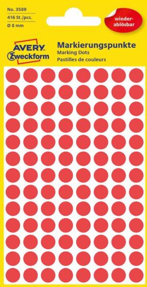 Avery Zweckform No. 3589 piros színű, 8 mm átmérőjű öntapadó jelölő címke (jelölő pötty, jelölő pont) visszaszedhető ragasztóval - 416 címke / csomag - 4 ív / csomag (Avery 3589)
