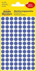 Avery Zweckform No. 3591 kék színű, 8 mm átmérőjű öntapadó jelölő címke (jelölő pötty, jelölő pont) visszaszedhető ragasztóval - 416 címke / csomag - 4 ív / csomag (Avery 3591)