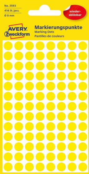 Avery Zweckform No. 3593 sárga színű, 8 mm átmérőjű öntapadó jelölő címke (jelölő pötty, jelölő pont) visszaszedhető ragasztóval - 416 címke / csomag - 4 ív / csomag (Avery 3593)