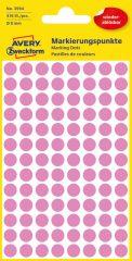 Avery Zweckform No. 3594 rózsaszínű, 8 mm átmérőjű öntapadó jelölő címke (jelölő pötty, jelölő pont) visszaszedhető ragasztóval - 416 címke / csomag - 4 ív / csomag (Avery 3594)