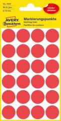 Avery Zweckform No. 3595 piros színű, 18 mm átmérőjű öntapadó jelölő címke (jelölő pötty, jelölő pont) visszaszedhető ragasztóval - 96 címke / csomag - 4 ív / csomag (Avery 3595)