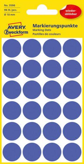Avery Zweckform No. 3596 kék színű, 18 mm átmérőjű öntapadó jelölő címke (jelölő pötty, jelölő pont) visszaszedhető ragasztóval - 96 címke / csomag - 4 ív / csomag (Avery 3596)