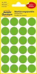 Avery Zweckform No. 3597 zöld színű, 18 mm átmérőjű öntapadó jelölő címke (jelölő pötty, jelölő pont) visszaszedhető ragasztóval - 96 címke / csomag - 4 ív / csomag (Avery 3597)
