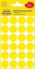 Avery Zweckform No. 3598 sárga színű, 18 mm átmérőjű öntapadó jelölő címke (jelölő pötty, jelölő pont) visszaszedhető ragasztóval - 96 címke / csomag - 4 ív / csomag (Avery 3598)