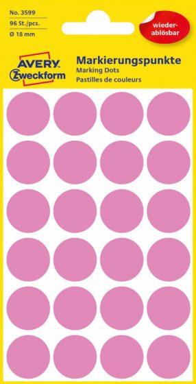 Avery Zweckform No. 3599 rózsaszínű, 18 mm átmérőjű öntapadó jelölő címke (jelölő pötty, jelölő pont) visszaszedhető ragasztóval - 96 címke / csomag - 4 ív / csomag (Avery 3599)