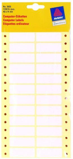 Avery Zweckform No. 3605 leporellós 40 x 14 mm méretű, fehér színű, 2 pályás öntapadó címke mátrix nyomtatókhoz - 1200 címke / csomag (Avery 3605)