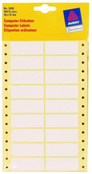 Avery Zweckform No. 3606 leporellós 48 x 19 mm méretű, fehér színű, 2 pályás öntapadó címke mátrix nyomtatókhoz - 900 címke / csomag (Avery 3606)