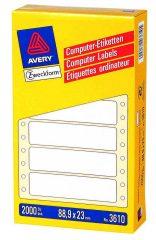 Avery Zweckform No. 3610 leporellós 88,9 x 23 mm méretű, fehér színű, 1 pályás öntapadó címke mátrix nyomtatókhoz - 2000 címke / doboz (Avery 3610)