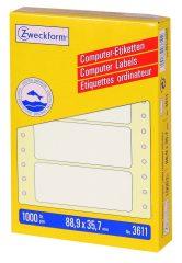 Avery Zweckform No. 3611 leporellós 88,9 x 35,7 mm méretű, fehér színű, 1 pályás öntapadó címke mátrix nyomtatókhoz - 1000 címke / doboz (Avery 3611)