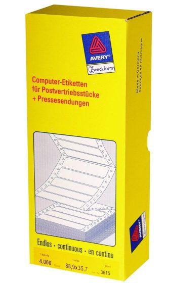 Avery Zweckform No. 3615 leporellós 88,9 x 35,7 mm méretű, fehér színű, 1 pályás öntapadó címke mátrix nyomtatókhoz - 4000 címke / doboz (Avery 3615)