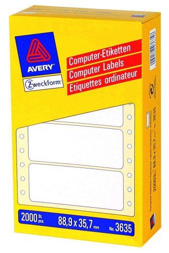 Avery Zweckform No. 3635 leporellós 88,9 x 35,7 mm méretű, fehér színű, 1 pályás öntapadó címke mátrix nyomtatókhoz - 2000 címke / doboz (Avery 3635)