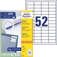 Avery Zweckform No. 3650 univerzális 48 x 21 mm méretű, fehér öntapadó etikett címke A4-es íven - 5200 címke / doboz - 100 ív / doboz (Avery 3650)