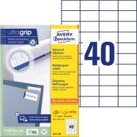 Avery Zweckform No. 3651-200 univerzális 52,5 x 29,7 mm méretű, fehér öntapadó etikett címke A4-es íven - 8000 címke / doboz - 200 ív / doboz (Avery 3651-200)