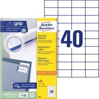 Avery Zweckform No. 3651 univerzális 52,5 x 29,7 mm méretű, fehér öntapadó etikett címke A4-es íven - 4000 címke / doboz - 100 ív / doboz (Avery 3651)