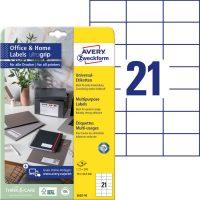 Avery Zweckform No. 3652-10 univerzális 70 x 42,3 mm méretű, fehér öntapadó etikett címke A4-es íven - 210 címke / csomag - 10 ív / csomag (Avery 3652-10)
