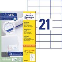 Avery Zweckform No. 3652-200 univerzális 70 x 42,3 mm méretű, fehér öntapadó etikett címke A4-es íven - 4620 címke / doboz - 220 ív / doboz (Avery 3652-200)
