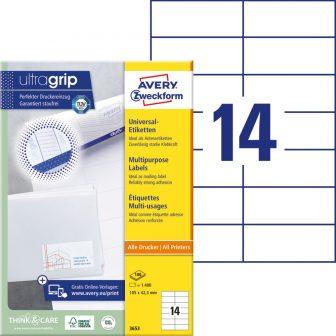 Avery Zweckform No. 3653 univerzális 105 x 42,3 mm méretű, fehér öntapadó etikett címke A4-es íven - 1400 címke / doboz - 100 ív / doboz (Avery 3653)