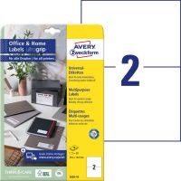 Avery Zweckform No. 3655-10 univerzális 210 x 148 mm méretű, fehér öntapadó etikett címke A4-es íven - 20 címke / csomag - 10 ív / csomag (Avery 3655-10)