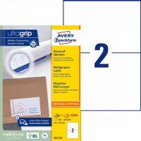 Avery Zweckform No. 3655-200 univerzális 210 x 148 mm méretű, fehér öntapadó etikett címke A4-es íven - 400 címke / doboz - 200 ív / doboz (Avery 3655-200)