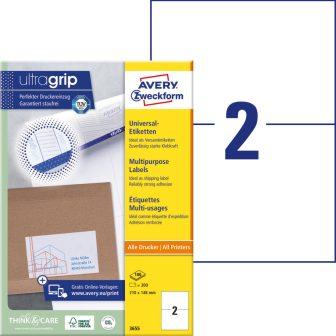 Avery Zweckform No. 3655 univerzális 210 x 148 mm méretű, fehér öntapadó etikett címke A4-es íven - 200 címke / doboz - 100 ív / doboz (Avery 3655)