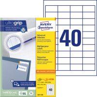 Avery Zweckform No. 3657-200 univerzális 48,5 x 25,4 mm méretű, fehér öntapadó etikett címke A4-es íven - 8800 címke / doboz - 220 ív / doboz (Avery 3657-200)